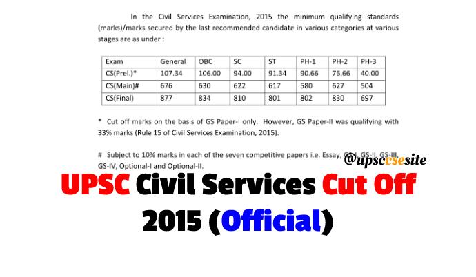 UPSC Prelim and Mains Cut Off 2015